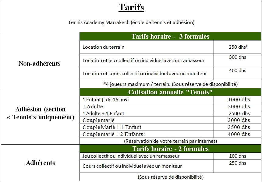COURS ET ENTRAÎNEMENTS DE TENNIS-LOCATION TENNIS ACADEMY MARRAKECH